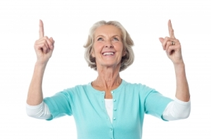 elderly lady pointing up