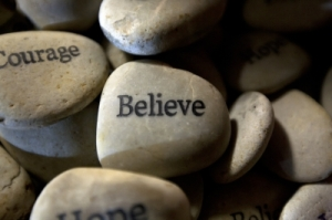 courage and believe rocks